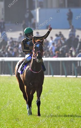 Stock Picture of Mozu Ascot (Christophe Lemaire) wins the February Stakes at Tokyo Racecourse in Fuchu