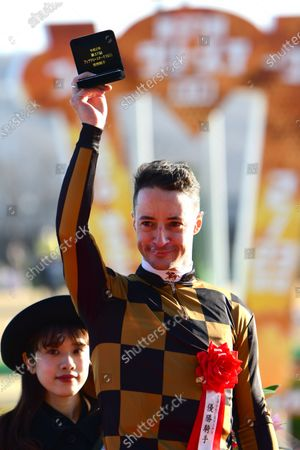 Stock Photo of Mozu Ascot (Christophe Lemaire) wins the February Stakes at Tokyo Racecourse in Fuchu