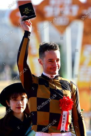 Mozu Ascot (Christophe Lemaire) wins the February Stakes at Tokyo Racecourse in Fuchu