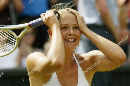 """Russia's Maria Sharapova reacts after defeating Lindsay Davenport in their Women's Singles semi-final match on the Centre Court at Wimbledon. Sharapova is retiring from professional tennis at the age of 32 after five Grand Slam titles and time ranked No. 1. She has been dealing with shoulder problems for years. In an essay written for Vanity Fair and Vogue about her decision to walk away from the sport, posted online, Sharapova asks: """"How do you leave behind the only life you've ever known"""