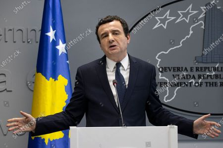 Prime minister of the Republic of Kosovo Albin Kurti gestures during an extraordinary press conference in Pristina, Kosovo, 26 February 2020. The Prime Minister of the Republic of Kosovo, Albin Kurti, through an official letter informed the Speaker of the Assembly of the Republic of Kosovo on the constitutional implications of the exchange of letters dated April 19, 2013 between the then Prime Minister Hashim Thaci and the then Secretary General of NATO, Anders Fogh Rasmussen. Through this agreement, Prime Minister Thaci, on behalf of the Republic of Kosovo, transferred to KFOR the absolute veto power over all future Kosovo Security Force (KSF) missions in the north of Kosovo for an unenforceable period.