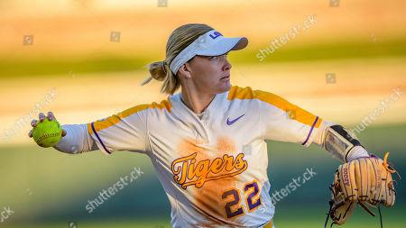 LSU third baseman Amanda Doyle throws during an NCAA softball game against Belmont, in Baton Rouge, La