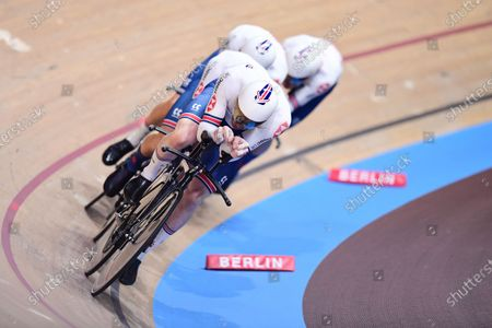 Stock Picture of Ed Clancy, Ethan Hayter, Charlie Tanfield and Oliver Wood of Great Britain in the Men's Team Pursuit Qualifying.