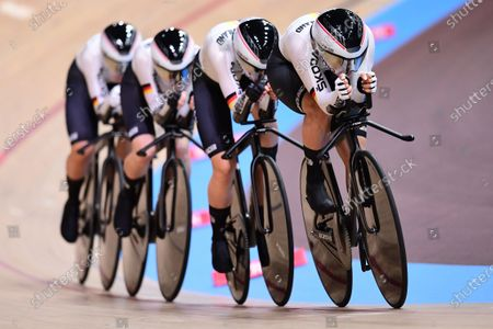 Franziska Brausse, Lisa Brennauer, Lisa Klein and Gudrun Stock of Germany in the Women's Team Pursuit Qualifying.