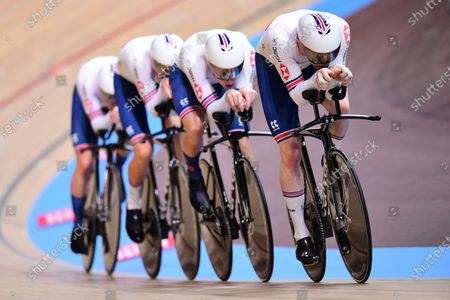 Stock Photo of Ed Clancy, Ethan Hayter, Charlie Tanfield and Oliver Wood of Great Britain in the Men's Team Pursuit Qualifying.