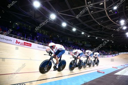 Ed Clancy, Ethan Hayter, Charlie Tanfield and Oliver Wood of Great Britain in the Men's Team Pursuit Qualifying.