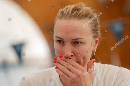Swedish swimmer Sarah Sjöström listens to questions during an interview with The Associated Press, in Naples, . If any thoughts were creeping into their minds that the Tokyo Olympics might be canceled due to a viral outbreak, elite swimmers Katinka Hosszú, Chad le Clos and Sarah Sjöström certainly didn't show it during a strenuous two-hour training session Wednesday