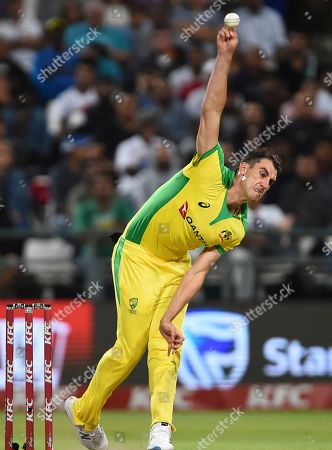 Stock Picture of Australia's Patrick Cummins bowls during the 3rd and final T20 cricket match between South Africa and Australia at Newlands Cricket stadium in Cape Town, South Africa