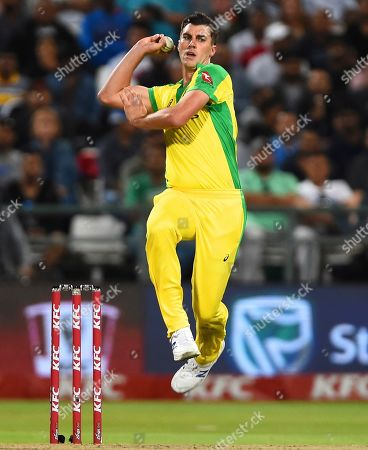 Australia's Patrick Cummins bowls during the 3rd and final T20 cricket match between South Africa and Australia at Newlands Cricket stadium in Cape Town, South Africa