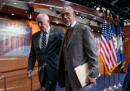 """Stock Photo of Bobby Rush, Steny Hoyer. House Majority Leader Steny Hoyer, D-Md., left, and Rep. Bobby Rush, D-Ill., leave a news conference about the """"Emmett Till Antilynching Act"""" which would designate lynching as a hate crime under federal law, on Capitol Hill in Washington, . Emmett Till was a 14-year-old African-American who was lynched in Mississippi in 1955, after being accused of offending a white woman in her family's grocery store"""