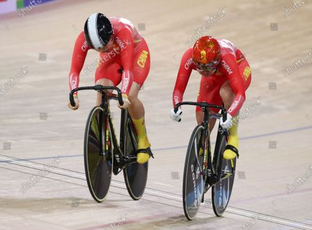 Stock Picture of Chen Feifei and Zhong Tianshi (R) of China in action during the bronze medal race in the women's Team Sprint at the UCI Track Cycling World Championships in Berlin, Germany 26 February 2020.
