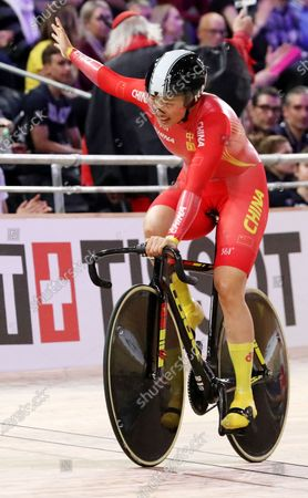 Chen Feifei of China celebrates after she and her teammate won bronze in the women's Team Sprint at the UCI Track Cycling World Championships in Berlin, Germany 26 February 2020.