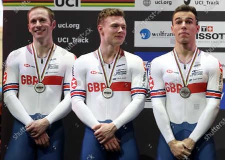 Silver medalists Team Great Britain (from left) Jason Kenny, Jack Carlin and Ryan Owens during the medal ceremony for the men's Team Sprint at the UCI Track Cycling World Championships in Berlin, Germany 26 February 2020.