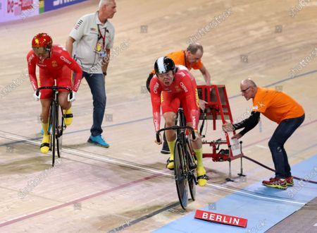 Chen Feifei and Zhong Tianshi of China in action during the women's Team Sprint first round at the UCI Track Cycling World Championships in Berlin, Germany 26 February 2020.