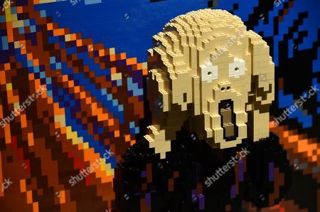 """An interpretation of Edvard Munch's classic painting """"The Scream"""" made out of 3,991 LEGO bricks is pictured at a media preview of """"The Art of the Brick"""" exhibition at the California Science Center, in Los Angeles. The exhibit, which features more than 100 works of art created from over one million LEGO bricks by contemporary artist Nathan Sawaya, opens on February 28"""