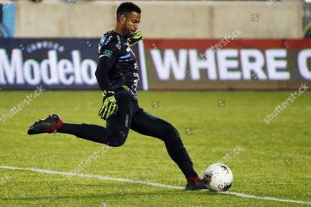 Stock Image of San Carlos goalkeeper Patrick Pemberton kicks the ball into play during the second half against New York City FC in the second leg of a CONCACAF Champions League soccer match, in Harrison, N.J. NYCFC won 1-0
