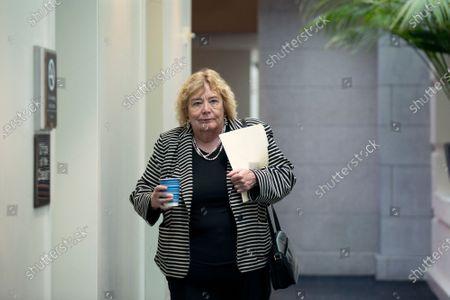 United States Representative Zoe Lofgren (Democrat of California) walks to the weekly U.S. House Democratic caucus meeting