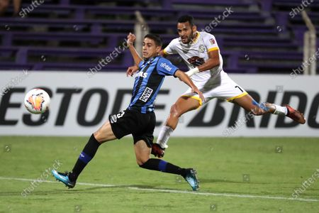 Camilo Damian Candido (L) of Liverpool vies for the ball with Manuel Alejandro Fuentes of Llaneros during their Copa Sudamericana between Liverpool and Llaneros, at Luis Franzini stadium in Montevideo, Uruguay, 25 Feberuary 2020.