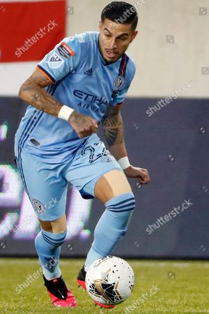 New York City FC defender Ronald Matarrita (22) takes the ball down the field during the first half in the second leg of a CONCACAF Champions League round of 16 soccer match, in Harrison, N.J