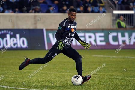San Carlos goalkeeper Patrick Pemberton kicks the ball to his teammates during the second half in the second leg of a CONCACAF Champions League round of 16 soccer match, in Harrison, N.J. NYCFC defeated San Carlos 1-0