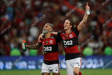 Gabriel Barbosa (L) and Filipe Luis of Flamenco celebrate after winning the Recopa Sudamericana soccer tournament final match between Flamengo and Independiente del Valle at the Maracana Stadium in Rio de Janeiro, Brazil, 26 February 2020.