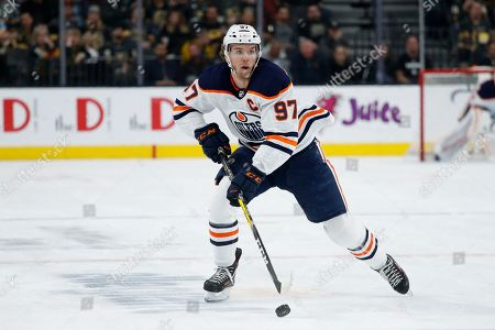 Edmonton Oilers center Connor McDavid (97) plays against the Vegas Golden Knights in an NHL hockey game, in Las Vegas