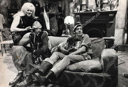 Scene On Set Of Film: 'steptoe And Son Ride Again' (1973). (l-r) Diana Dors Wilfred Brambell And Harry H Corbett.