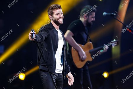 Stock Picture of Spanish singer song-writer Pablo Alboran performs at the Quinta Vergara stage during the Vina del Mar International Song Festival, in Vina del Mar, Chile, 26 February 2020.