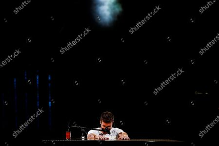 Spanish singer song-writer Pablo Alboran performs at the Quinta Vergara stage during the Vina del Mar International Song Festival, in Vina del Mar, Chile, 26 February 2020.