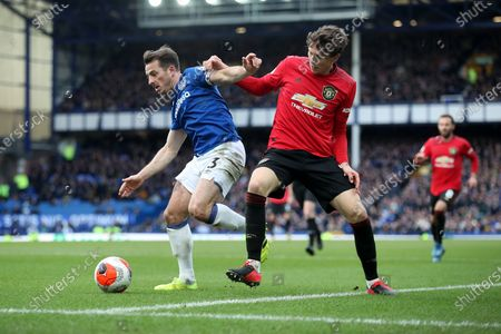 Leighton Baines of Everton and Victor Lindeloff of Manchester United