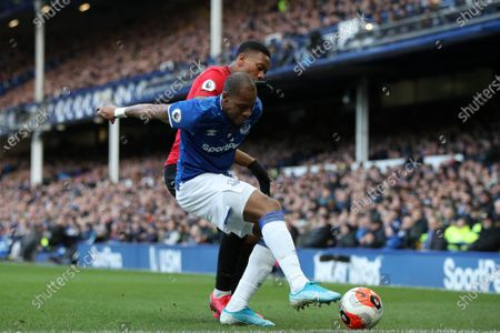 Anthony Martial of Manchester United and Djibril Sidibe of Everton