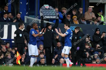 Seamus Coleman of Everton is substituted for Djibril Sidibe
