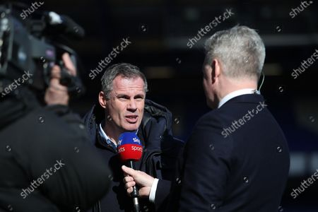 SKY Sports pundit Jamie Carragher interviews pitch side at Goodison Park