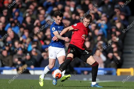 Leighton Baines of Everton and Scott McTominay of Manchester United