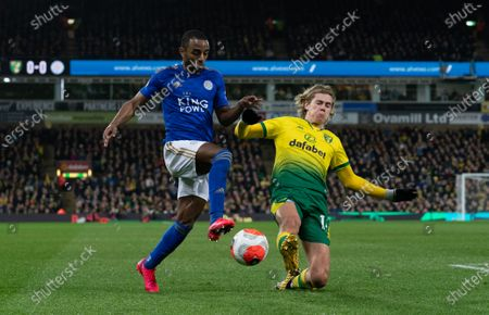 Ricardo Pereira of Leicester City and Todd Cantwell of Norwich City