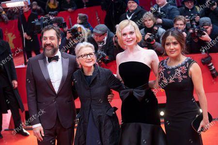 Javier Bardem, Sally Potter, Elle Fanning and Salma Hayek
