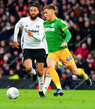 Michael Hector of Fulham chases Brad Potts of Preston North End