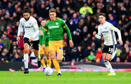 Michael Hector, left, and Tom Cairney of Fulham chase Brad Potts of Preston North End