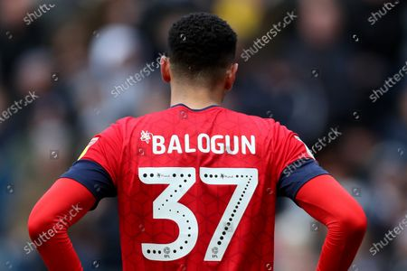 The EFL and Mind logo in the shirt numbers of Leon Balogun of Wigan Athletic