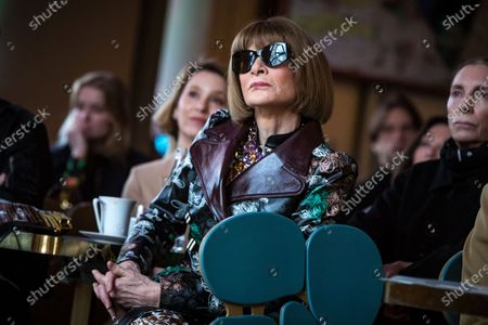 Editor in Chief of US Vogue magazine Anna Wintour attends the presentation of the exhibition 'About Time: Fashion and Duration' at the Orsay Museum in Paris, France, 27 February 2020. 'About Time' will run at the Costume Institute of the Metropolitan Museum of Art in New York, USA from 07 May to 07 September 2020.