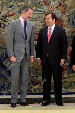 Spain's King Felipe VI (L) and Brazilian Lower Chamber Speaker Rodrigo Maia pose for the photographers before their meeting at La Zarzuela Palace, in Madrid, Spain, 27 February 2020.