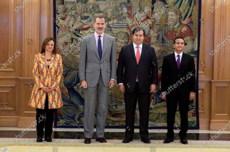 Spain's King Felipe VI (2-L) and Brazilian Lower Chamber Speaker Rodrigo Maia (2-R) pose for the photographers next to Spanish Secretary of State for Foreign Affairs and Latin America and Caribbean, Cristina Gallach (L), before their meeting at La Zarzuela Palace, in Madrid, Spain, 27 February 2020.