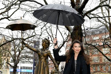Zizi Vaigncourt-Strallen, star of West End production of Mary Poppins, unveils a Mary Poppins statue as part of Discover LSQ's film statue trail 'Scenes in the Square'.