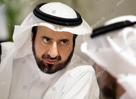 Stock Picture of Saudi Health Minister Tawfiq Al-Rabiah, talks to a health official about the latest situation on coronavirus at the Saudi Food and Drug Authority in Riyadh, Saudi Arabia, . Saudi Arabia halted travel to the holiest sites in Islam over fears of the global outbreak of the new coronavirus just months ahead of the annual hajj pilgrimage. Photos show Saudi King Salman, right, Crown Prince Mohammed bin Salman, left, and Saudi Arabia's founder late King Abdul Aziz Al Saud