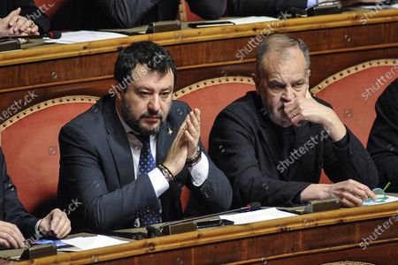 Senator and leader of Lega party Matteo Salvini, senator of Lega party Roberto Calderoli
