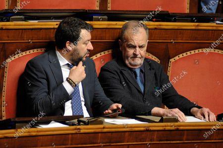 Senator and leader of Lega party Matteo Salvini, senator of Lega party Roberto Calderoli