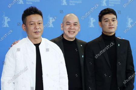 Lee Kang-Sheng, Tsai Ming-liang and Anong Houngheuangsy pose during the Rizi (Days) photocall during the 70th annual Berlin International Film Festival (Berlinale), in Berlin, Germany, 27 February 2020. The movie is presented in the Official Competition at the Berlinale that runs from 20 February to 01 March 2020.