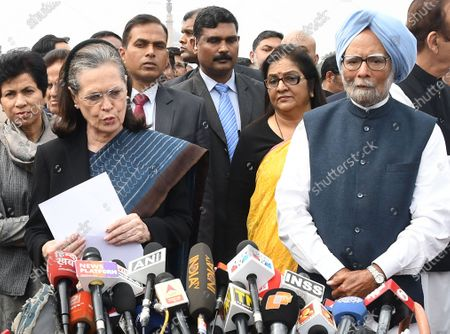 Congress Party delegation led by party President Sonia Gandhi (L) and Former prime minister Manmohan Singh (R) speak to the media after a meeting with India's President Ram Nath Kovind at the President House in New Delhi, India, 27 February 2020. Top congress leadership met the Indian president to  submit a memorandum over the violence in Delhi after 24 people have been killed in clashes that broke out between supporters and opponents of the controversial Citizenship Amendment Act (CAA).