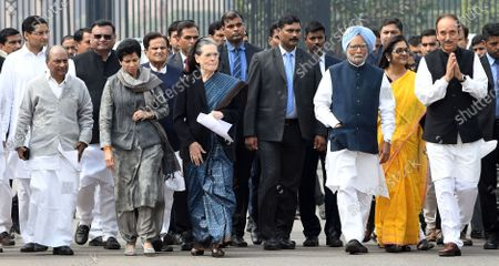 Congress Party delegation led by party President Sonia Gandhi (C) and Former prime minister Manmohan Singh (3-R) after a meeting with India's President Ram Nath Kovind at the President House in New Delhi, India, 27 February 2020. Top congress leadership met the Indian president to  submit a memorandum over the violence in Delhi after 24 people have been killed in clashes that broke out between supporters and opponents of the controversial Citizenship Amendment Act (CAA).