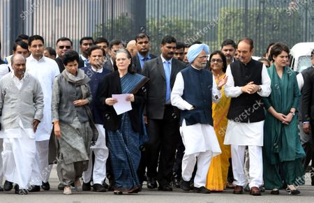Congress Party delegation led by party President Sonia Gandhi (3-L) and Former prime minister Manmohan Singh (4-R) after a meeting with India's President Ram Nath Kovind at the President House in New Delhi, India, 27 February 2020. Top congress leadership met the Indian president to  submit a memorandum over the violence in Delhi after 24 people have been killed in clashes that broke out between supporters and opponents of the controversial Citizenship Amendment Act (CAA).